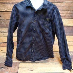 Guess Button Down Shirt XL Black Purple Plaid Mens